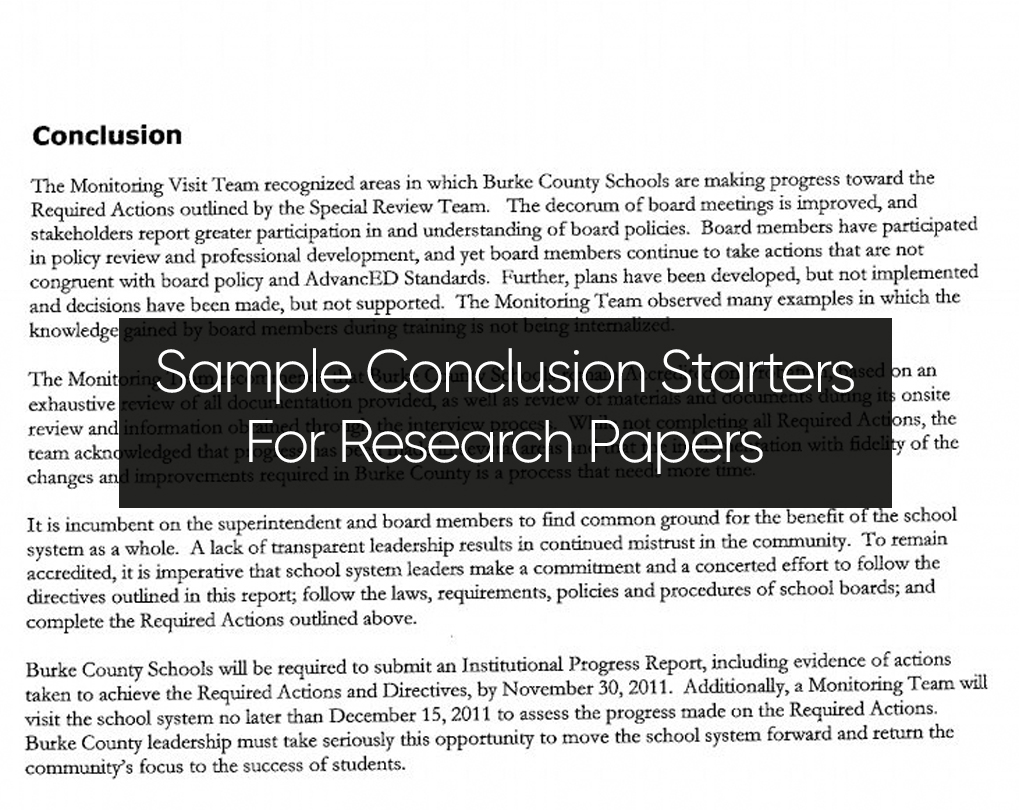 Good Conclusion Starters